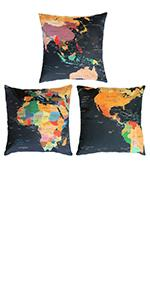 black world map throw pillow covers