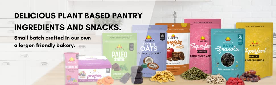 Delicious plant-based pantry ingredients and snacks.
