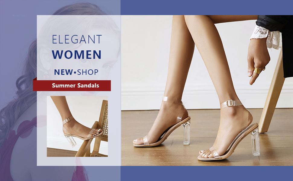 women sexy clear high heels
