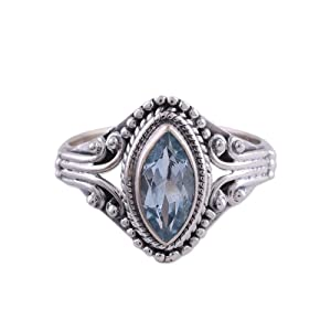 NOVICA,Blue,Sterling Silver,Ring,Handmade,Jewelry,Women,Gems,Pearls,Gift,Stone,Floral,Shiny,Sparkle