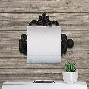 toilet paper holder, cast iron decor, fleur de lis decor, bathroom decor, metal bathroom decor