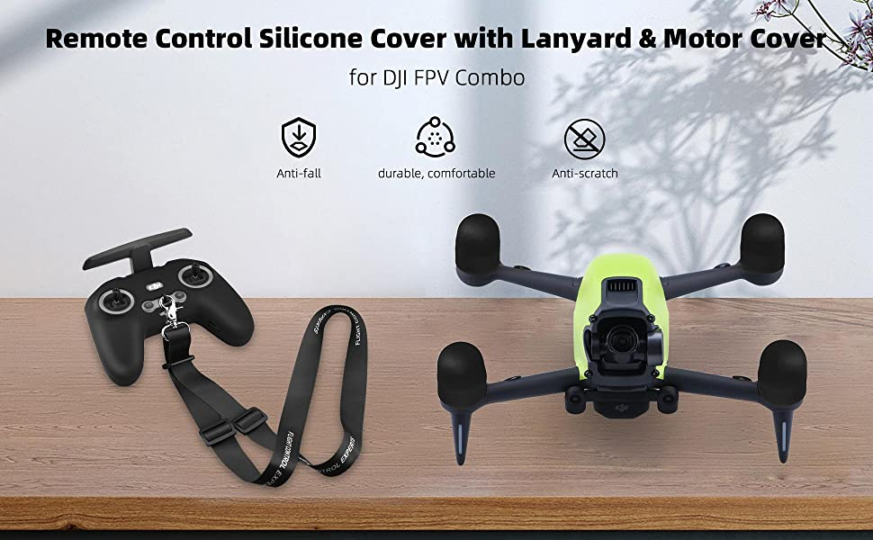 DJI FPV Drone Remote Control Silicone Cover with Lanyard Motor Cover