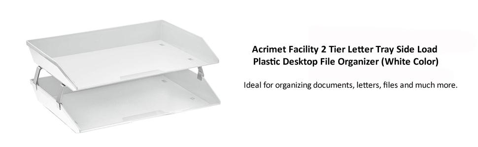 Acrimet Facility 2 Tier Letter Tray Side Load Plastic Desktop File Organizer White Color