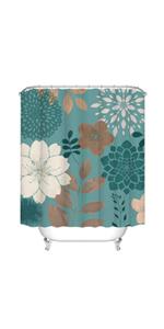 teal floral bathroom curtain fabric