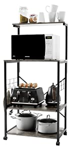 BAKER RACK KITCHEN STORAGE SHELVES MICROWAVE OVEN STAND SHELF CART WITH WHEELS