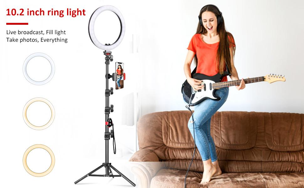 UEGOGO 10.2-inch Ring Light with Tripod Stand