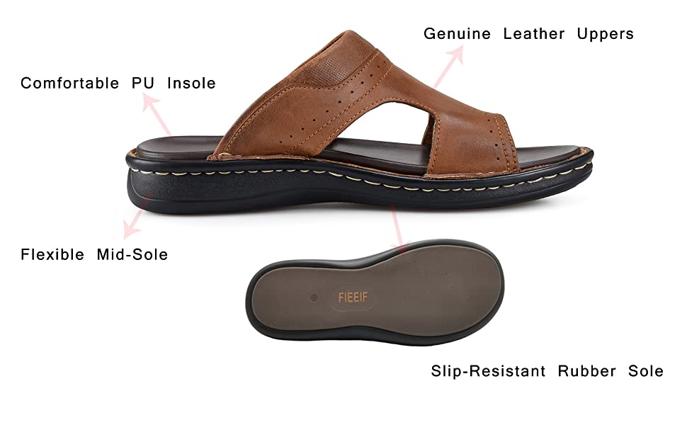 brown leather slippers for men