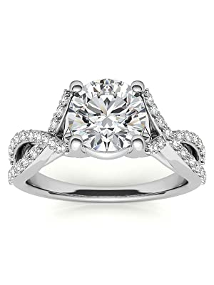 Facets Jewels Moissanite Ring Wedding Band Round Cut