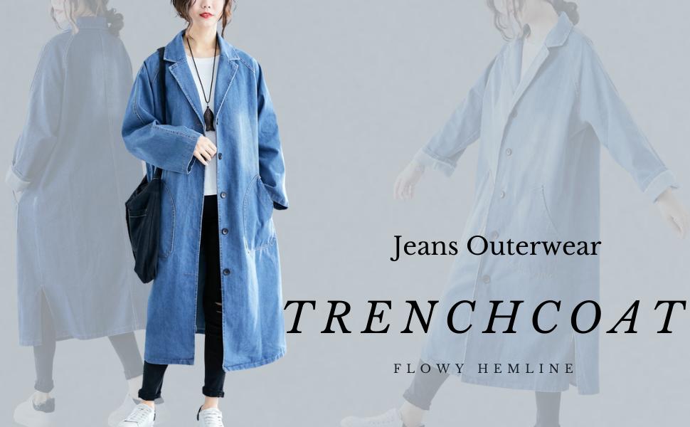 Plus Size Lapel Denim Trench Coat Button Down Windbreaker Casual Jean Jacket Outwear
