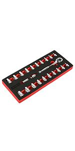 23pc SAE/MM 1/4amp;#34; Dr. 90T Ratchet amp;amp; Socket Set