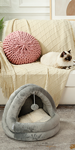Cat Bed for Indoor Cats, Pet Tent Soft Cave Bed for Dogs and Small Cats, Machine Washable Cat Beds