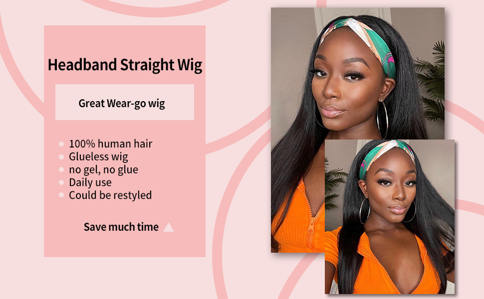 headband wig straight hair