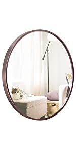 24 Inch Rose Gold Round Framed Mirror