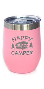 Text says Happy Camper with hand engraved image of a cute retro camper trailer
