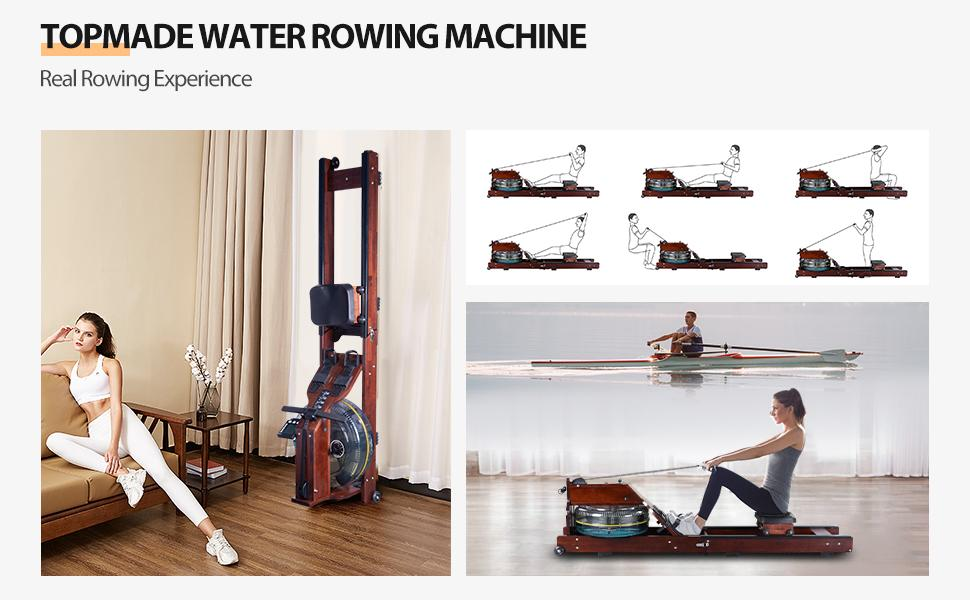 Rowing Machine with LCD Monitor,Oak Wood Water Resistance Rower for Home Training Exercise Equipment
