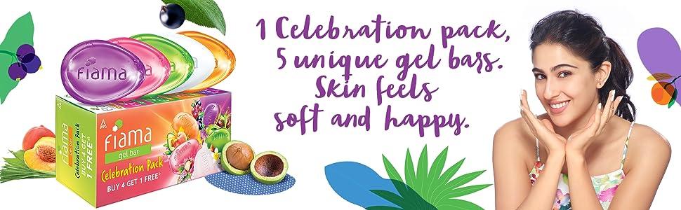 Celebration pack, fiama, soap, gel bar, bathing, soft, happy, nourished, skin, bathing bar