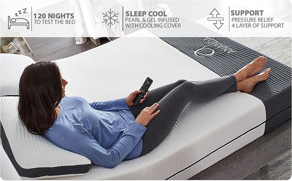adjustable bed frame for split king and queen cool gel infused mattress set massage usb head tilt
