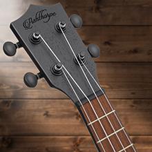 dark brown ukulele headstock, walnut fretboard, strings, silver nickel fret, closed tuning gear, peg