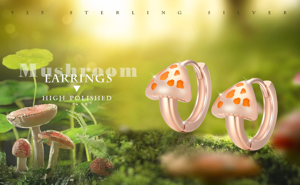 Cute Mushroom Huggie Earrings