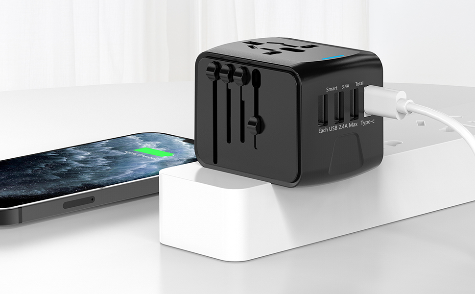 Universal International Power Adapter with 3USB Port And Type-C