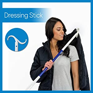 Image showing dressing hook being used to put on jacket