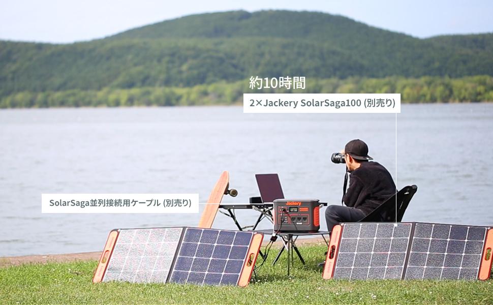 2枚のソーラーパネル100wを使ってポータブル電源1000へ充電