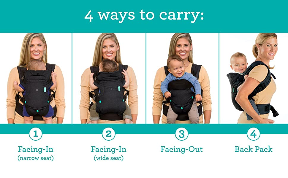 4 Ways to Carry: 1 Facing-In Narrow Seat, Facing-In Wide Seat, Facing-Out, Back Pack