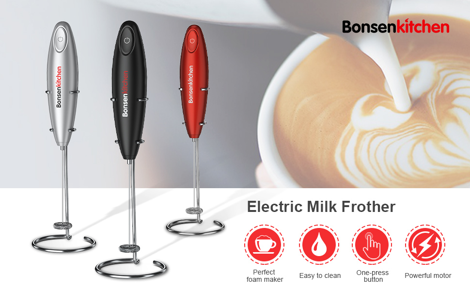 bonsenkitchen eletric milk frother for coffee