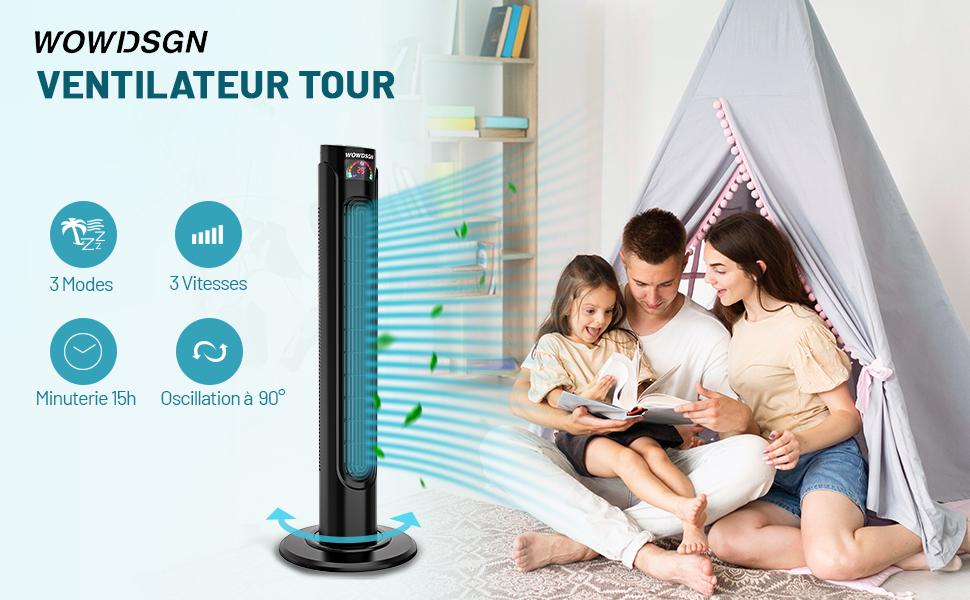 Ventilateur Colonne Silencieux WOWDSGN Ventilateur Tour Oscillant avec Télécommande