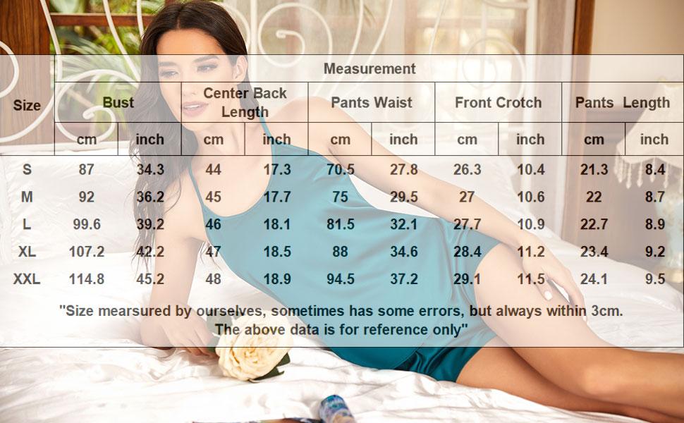 Ekouaer Sleepwear Women Satin Pajama Set PJ Cami Shorts Set Sexy Nightwear