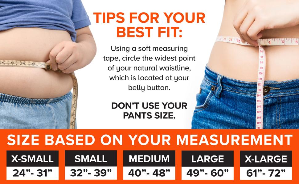 back support waist size measurement