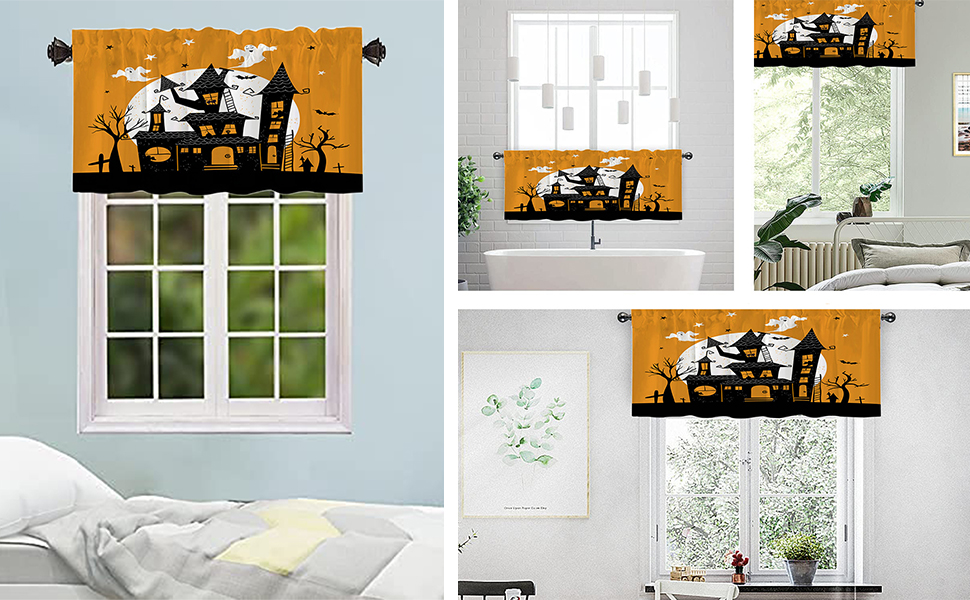Halloween castle valances can be used in the kitchen, bedroom, bathroom, dorm and other spaces.