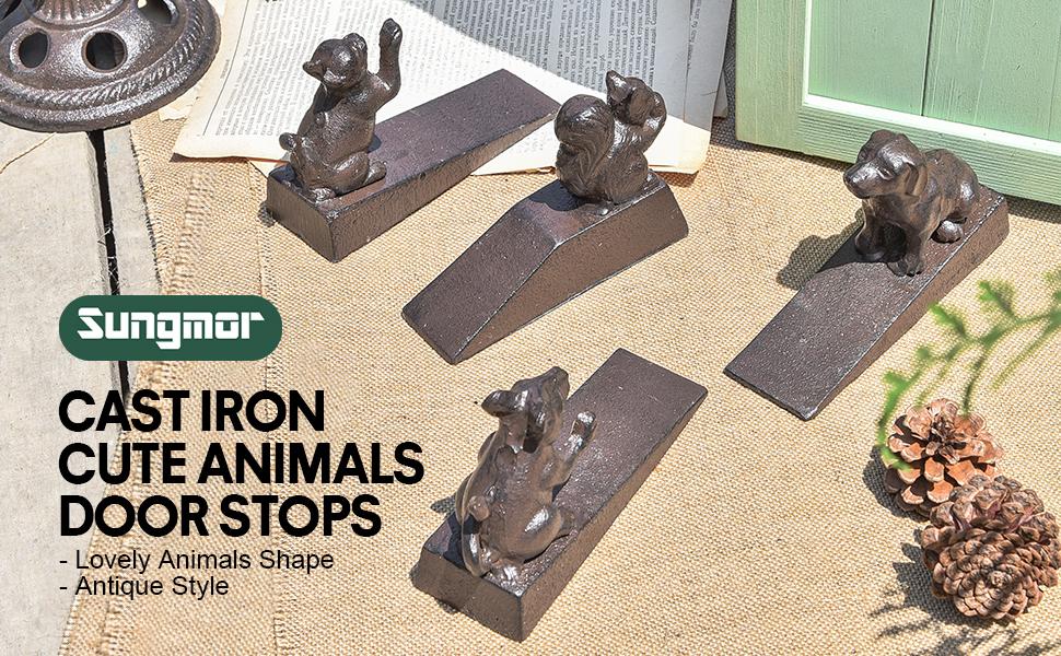 cast iron cute animals door stops