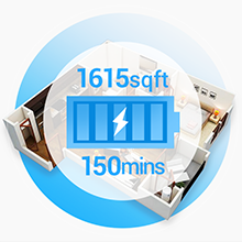 Lefant U180 robot vacuum can run for 150 minutes per charge, or approximately 1615 sqft