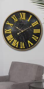 Large Black Marble Pattern Wooden Wall Clock