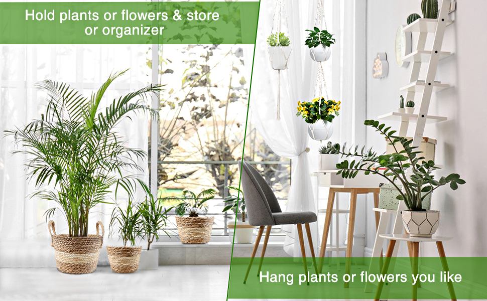 Macrame Plant Hanger Hanging Planters Indoor with 3 Hand Woven Seagrass Planter Flower Baskets