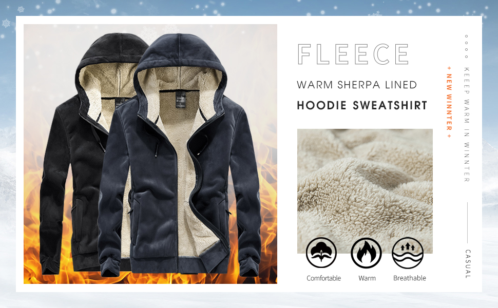 Warm Sherpa Lined Full Zip Hoodie