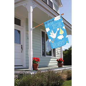 House flag with stork baby delivery design