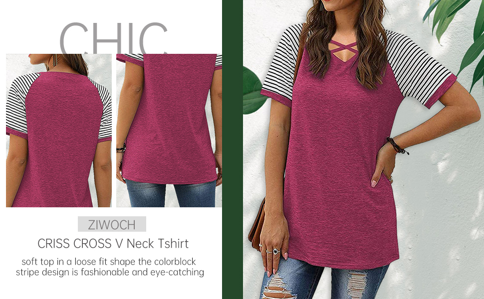 women short sleeve v neck criss cross t shirt