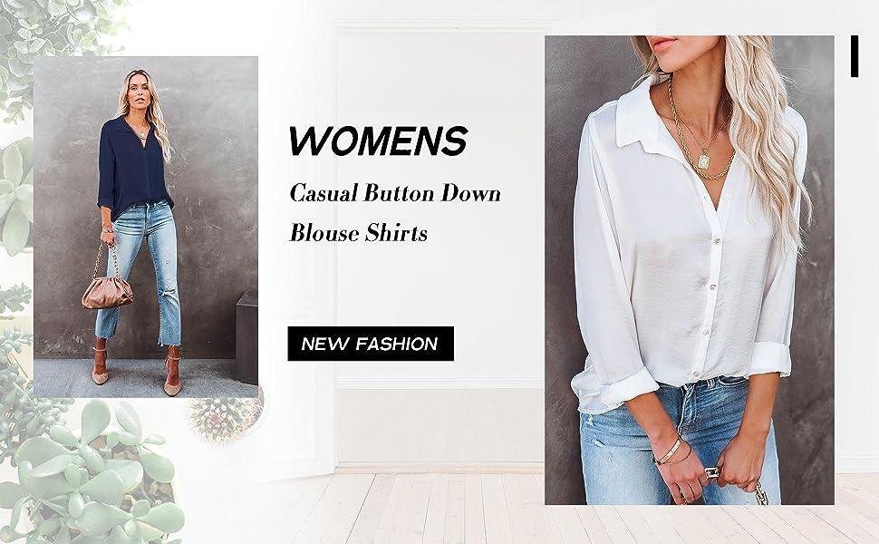 Womens Casual Button Down Shirt