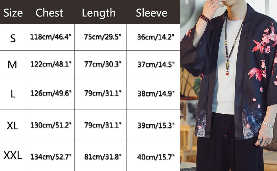 Lightweight Kimono Jacket Seven Sleeve Open Front Cardigan Coat Japanese Style Bathrobe