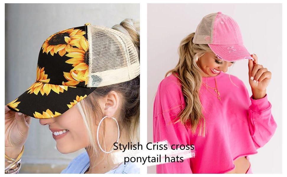 Stylish criss cross back ponytail hats