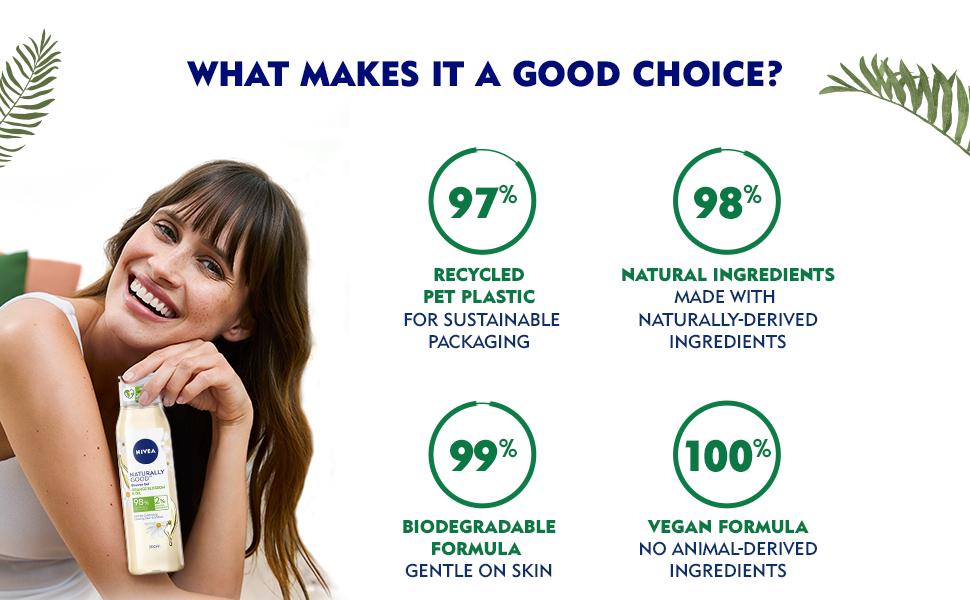 NIVEA,Women, Body Wash, Shower Gel, Natural Ingredients Nourishment