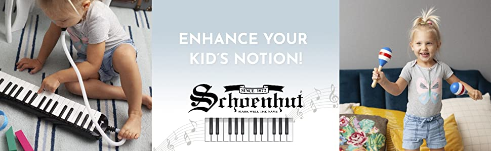 Enhance your kid's notion! A kid playing with synthesizer and maracas Schoenhut