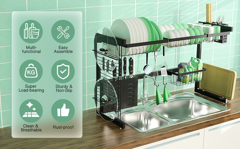multi-function dish dryer rust proof dish drying countertop organizer heavy-duty stainless steel