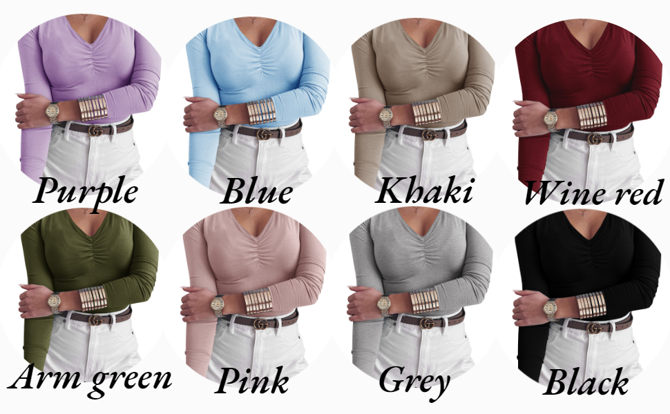 GAMISOTE Women's Ruched V-Neck Long Sleeve T-Shirts Casual Basic Plain Tee Tops