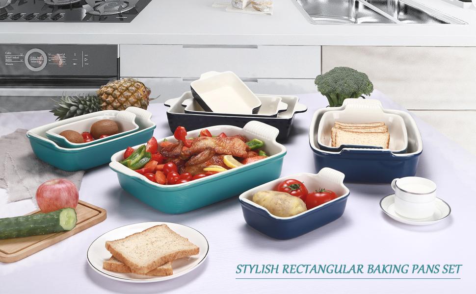 STYLISH RECTANGULAR BAKING PANS SET