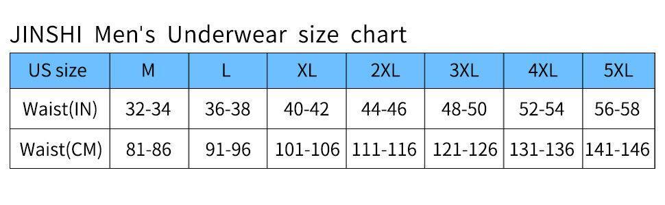 JINSHI Mens Underwear Size Chart