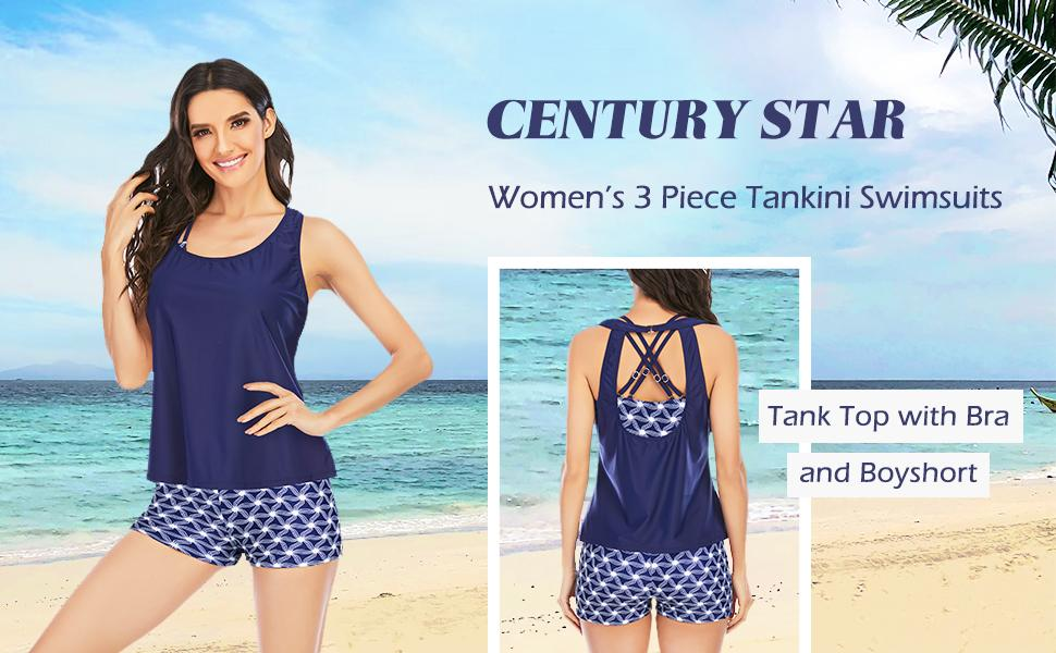 Athletic 3 Piece Tankini Swimsuits for Women