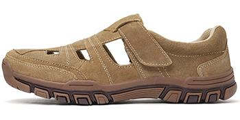 Mens Leather Closed Toe Sandal Shoes